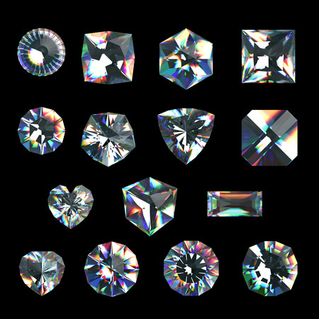 asscher cut: 3d crystals, assorted shape cut gemstones, clear jewels, diamonds and brilliants