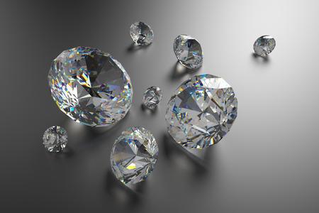 diamond cut: 3d brilliants and diamonds background Stock Photo