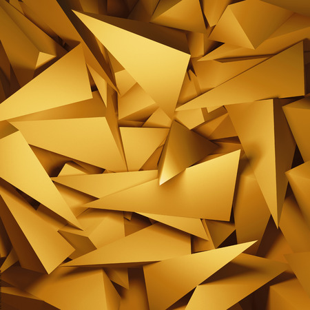 crystalline gold: 3d abstract gold geometric background