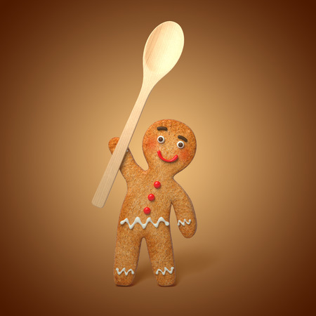 cool man: gingerbread man holding wooden spoon, 3d cartoon character illustration