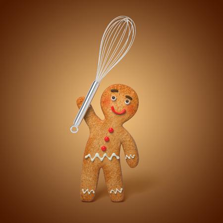 Lebkuchen Mann mit Koch Rührbesen, 3D Cartoon-Zeichen Illustration Standard-Bild - 32274503