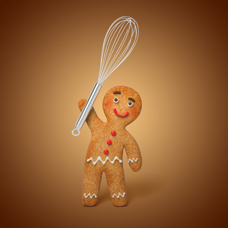 gingerbread man holding cooking beater, 3d cartoon character illustration