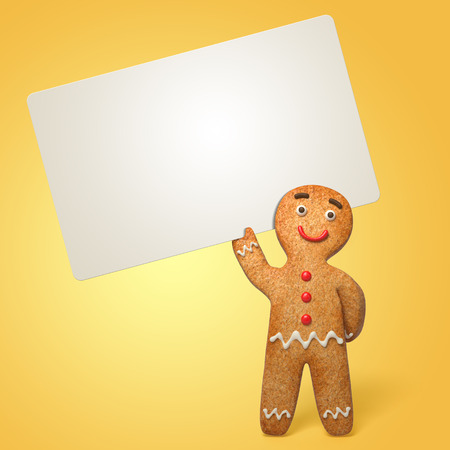 gingerbread man holding blank card, 3d cartoon character