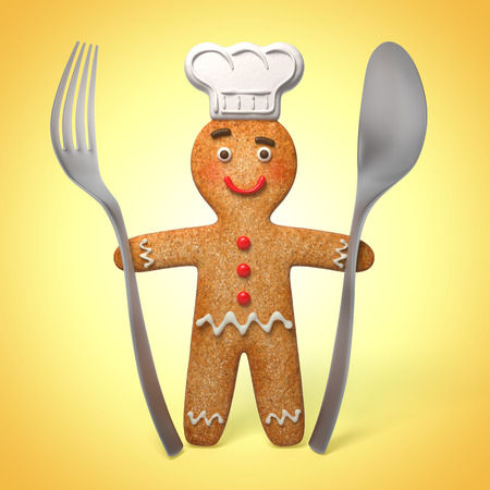 sugar spoon: gingerbread man chief cook, holding spoon and fork, 3d cook cartoon character