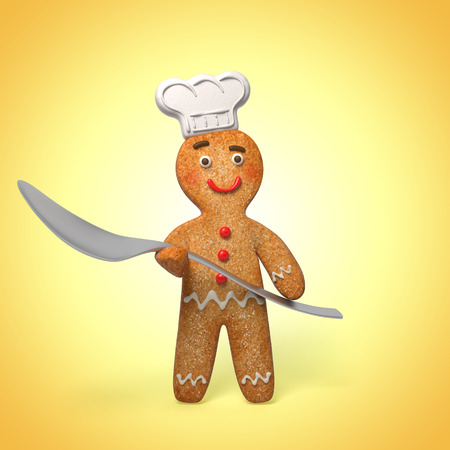 gingerbread cake: gingerbread man holding spoon, 3d cook cartoon character Stock Photo