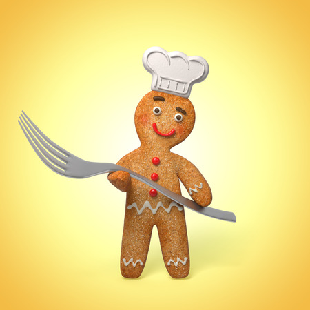 gingerbread man holding fork, 3d cook cartoon character photo