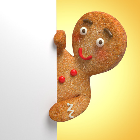 gingerbread man holding white page, blank banner template, 3d cartoon character illustration