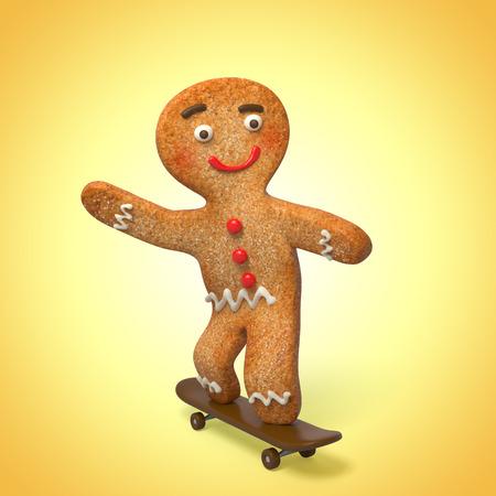 gingerbread man on skate, 3d cook cartoon character