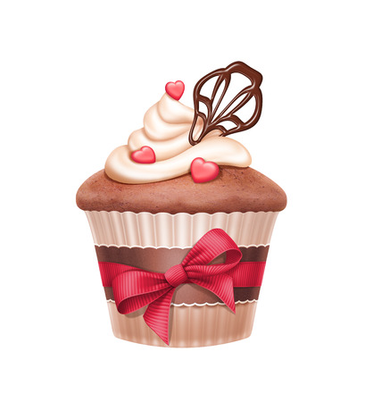 vanilla cupcake: lovely cupcake with red ribbon bow, Valentines day illustration isolated