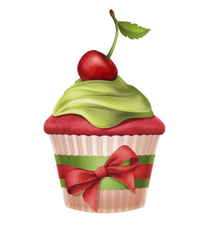 cake with icing: cherry cupcake with red ribbon bow, Christmas dessert illustration