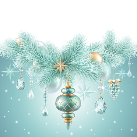 new year eve beads: Christmas garland, hanging ornaments, holiday background Stock Photo