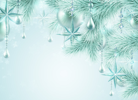 winter festive background, Christmas tree ornaments photo