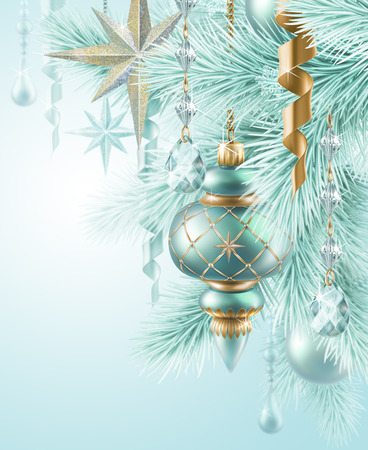 new year eve beads: Christmas background, fir twigs and hanging balls ornaments