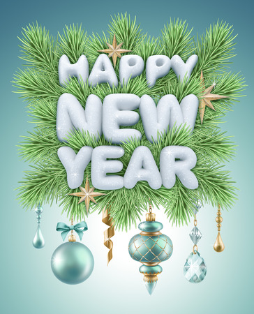 happy new year greeting card with fir tree ornaments and decorations photo