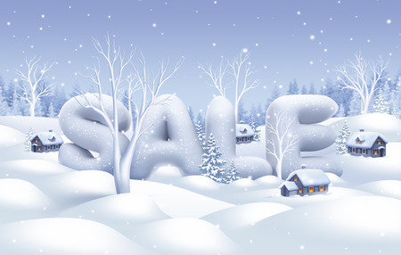 winter sale banner, white nature illustration, holiday background Imagens