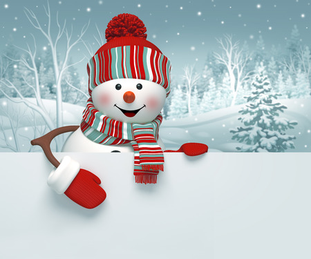 winter tree: 3d cartoon happy snowman holding blank banner, winter background, Christmas greeting card
