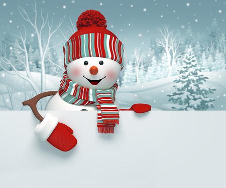 Dibujos animados en 3D muñeco de nieve feliz que sostiene la bandera en blanco, fondo de invierno, tarjeta de felicitación de Navidad Foto de archivo