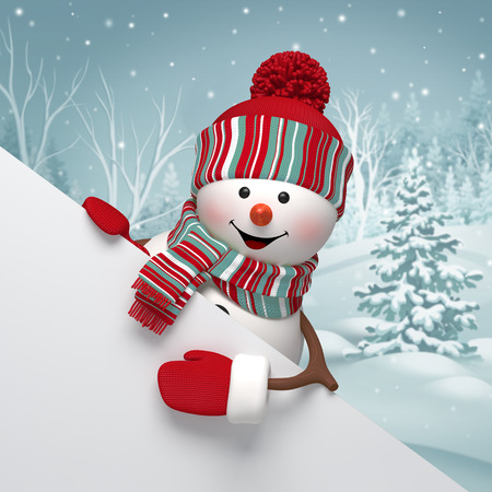 3d cartoon snowman holding white banner, winter background, Christmas greeting card