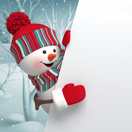 snowman 3d: 3d cartoon happy snowman holding blank banner, new year greeting card, winter background
