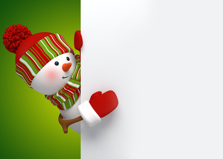 christmas x mas: snowman looking out the corner, holiday banner, 3d illustration