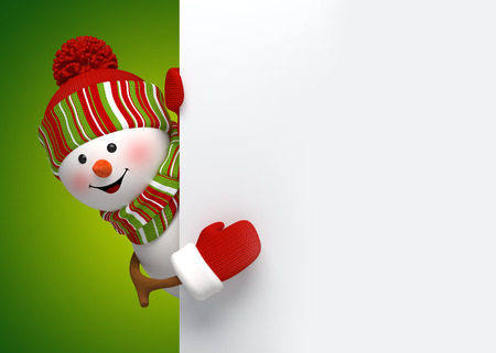 snowman 3d: happy snowman holding blank holiday banner, 3d illustration Stock Photo