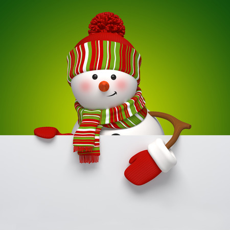 snowman holding banner, holiday background, 3d illustration