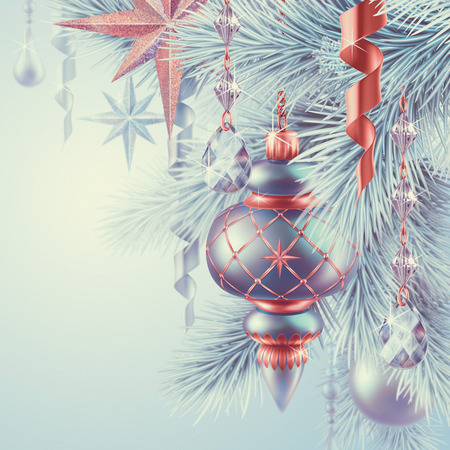 vintage Christmas ornaments, New Year background photo