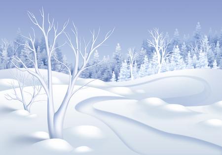 frozen winter: winter forest landscape horizontal illustration, frozen trees