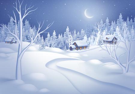 nuit d'hiver paysage horizontal illustration, minuit est un petit village