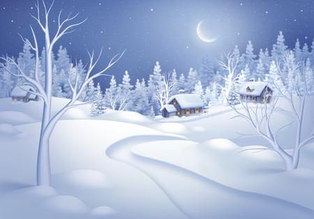 afterglow: winter night landscape horizontal illustration, midnight is small village