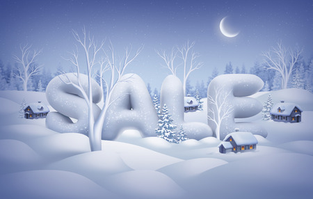 comercial: winter sale poster, snow text, midnight illustration Stock Photo