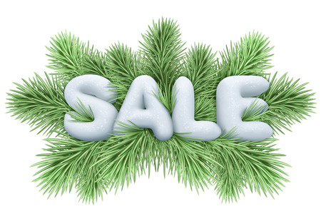 comercial: Christmas sale announcement, commercial banner, snow text over green coniferous twigs