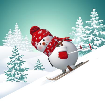 3d snowman skiing downhill, winter landscape background