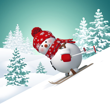 3d snowman skiing downhill, winter landscape background