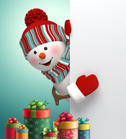 bonhomme de neige heureux regardant le coin, pile de boîtes à cadeaux, 3d illustration, hiver vacances de Noël fond