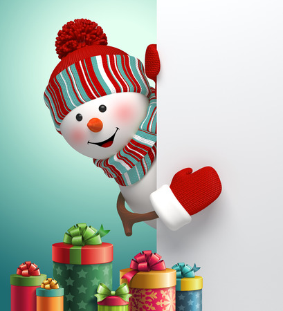 christmas holiday: happy snowman looking out the corner, stack of gift boxes, 3d illustration, winter Christmas holiday background