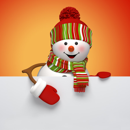 3d snowman banner, winter holiday symbol, festive template photo