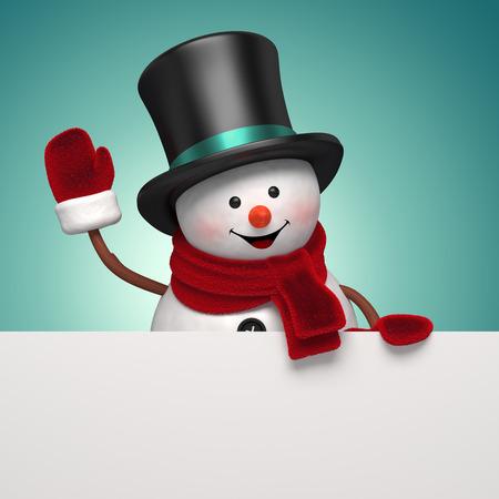 snowman gentleman in hat, holiday banner, 3d illustration