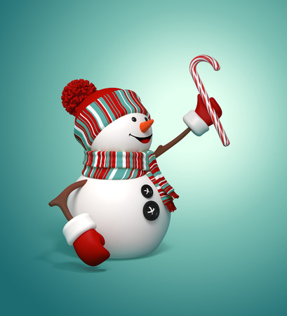 3d snowman holding candy cane, Christmas illustration Stock Photo
