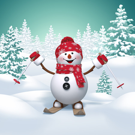 snow cap: skiing snowman, 3d Christmas cartoon character, winter landscape