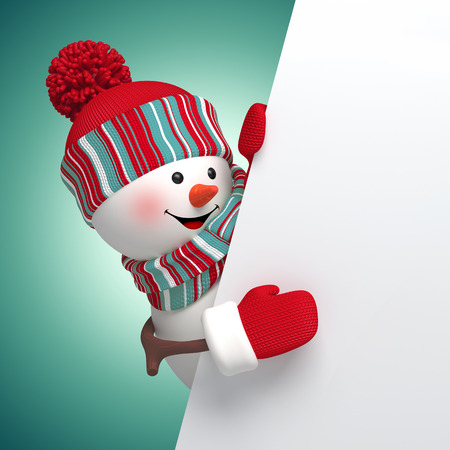 3d snowman holding banner, holiday background photo