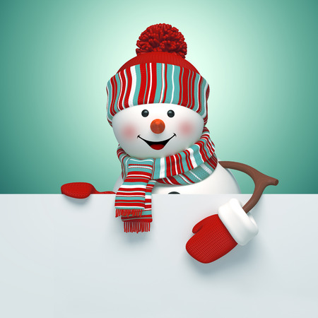 winter clothing: 3d snowman holding holiday blank banner template, Christmas illustration