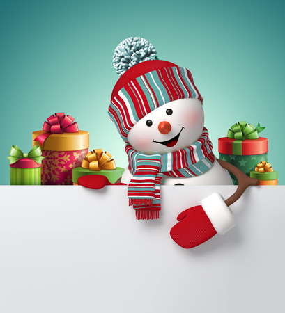 christmas holiday background: 3d snowman, New Year banner, gift boxes, illustration