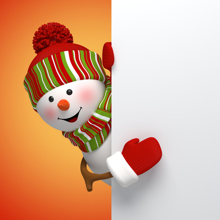 3d snowman banner, winter holidays symbol, festive template Stock Photo