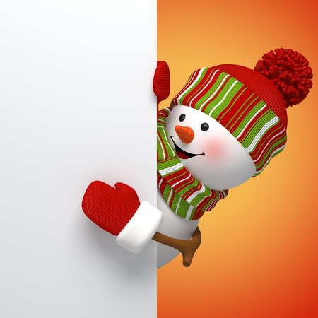 3d snowman banner, winter holiday symbol, festive template