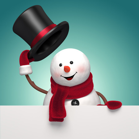 salutation: snowman gentleman taking off his hat, holding New Year greeting banner