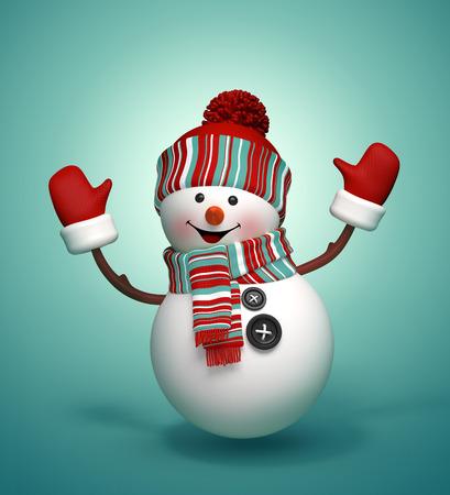 ハッピー ダンス、雪だるま、ジャンプ 3 d の隔離された図 写真素材