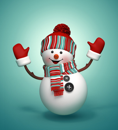 snowman cartoon: happy dancing and jumping snowman, 3d isolated illustration