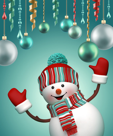 the snowman: 3d happy snowman celebrating new year party, holiday background Stock Photo