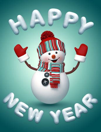new year's cap: 3d snowman, Happy New Year snow text, winter holiday illustration